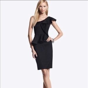 WHBM Black peplum one shoulder cocktail dress sz 4